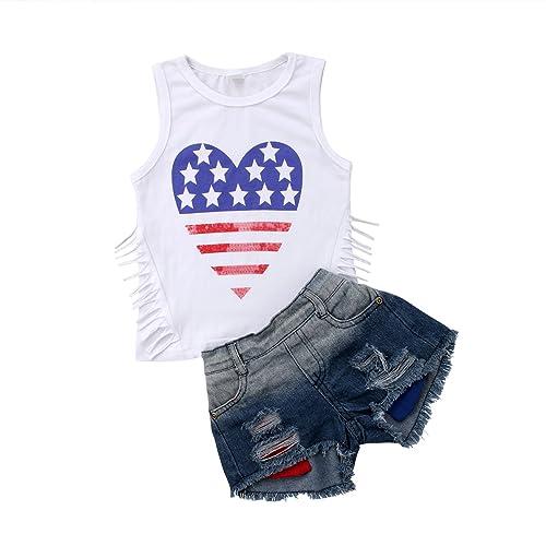 96d89182804 sweetyhouse Infant Baby Girls Sleeveless Denim Shorts Sets