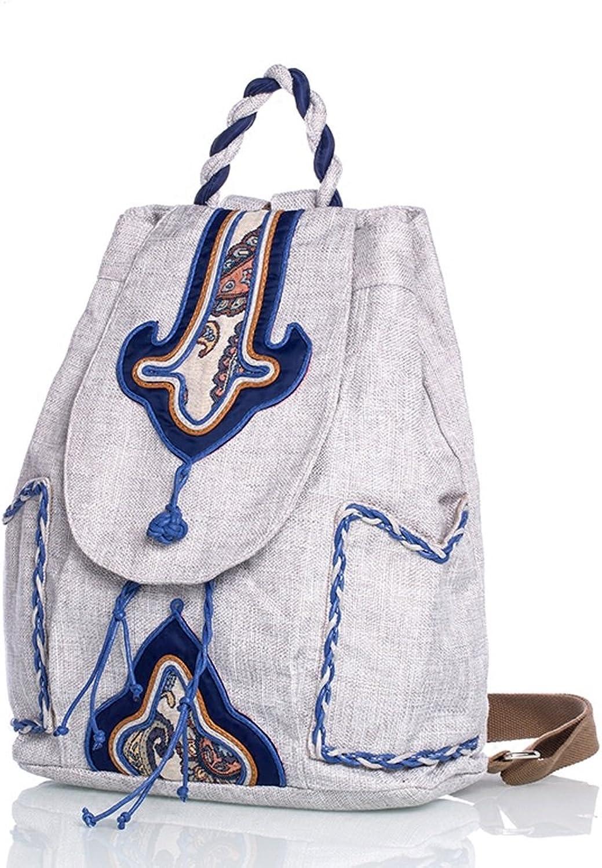 CQ Nationalen Stil Rucksack Mode Einfache Mongolei Original Blau und Wei Porzellan Tasche Junger Mann und Frau Portable Rucksack (Farbe   Blau Ash, Größe   25  10  36cm)