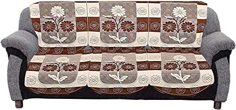 Kuber Industries Flower Cotton 2 Piece 3 Seater Sofa Cover (Brown) - CTKTC022242