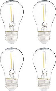 AmazonBasics Replacement LED String Light Bulbs A15 Shape, Edison Style, 1 Watt Power - 4-Pack