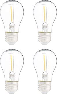 AmazonBasics Replacement LED String Light Bulbs A15 Shape, Edison Style, 1 Watt Power - 4-Pack