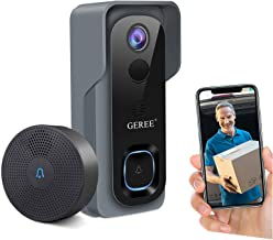 Video Doorbell Camera Wireless WiFi Smart Doorbell,32GB Preinstalled,GEREE 1080P HD Security Home Camera,Real-Time Video a...