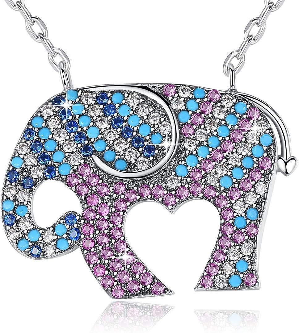 GEMMANCE List price Lucky Elephant Owl Dedication Necklace Girls Purple Pendant Gifts