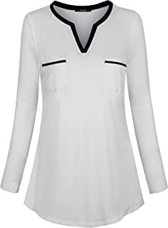 Lotusmile Womens Tops and Blouses,Long Sleeve Henley Shirt V Neck Casual Tunic Color Block Pockets