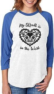 My Dirndl is in The Wash Oktoberfest 3/4 Women Sleeve Baseball Jersey Shirt