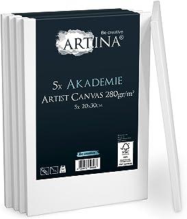 Artina - Châssis entoilé certifié FSC® - Toile à Peindre - Akademie - Qualité Fine - Apprêtée 2 Fois - Lot de 5-20x30cm - ...