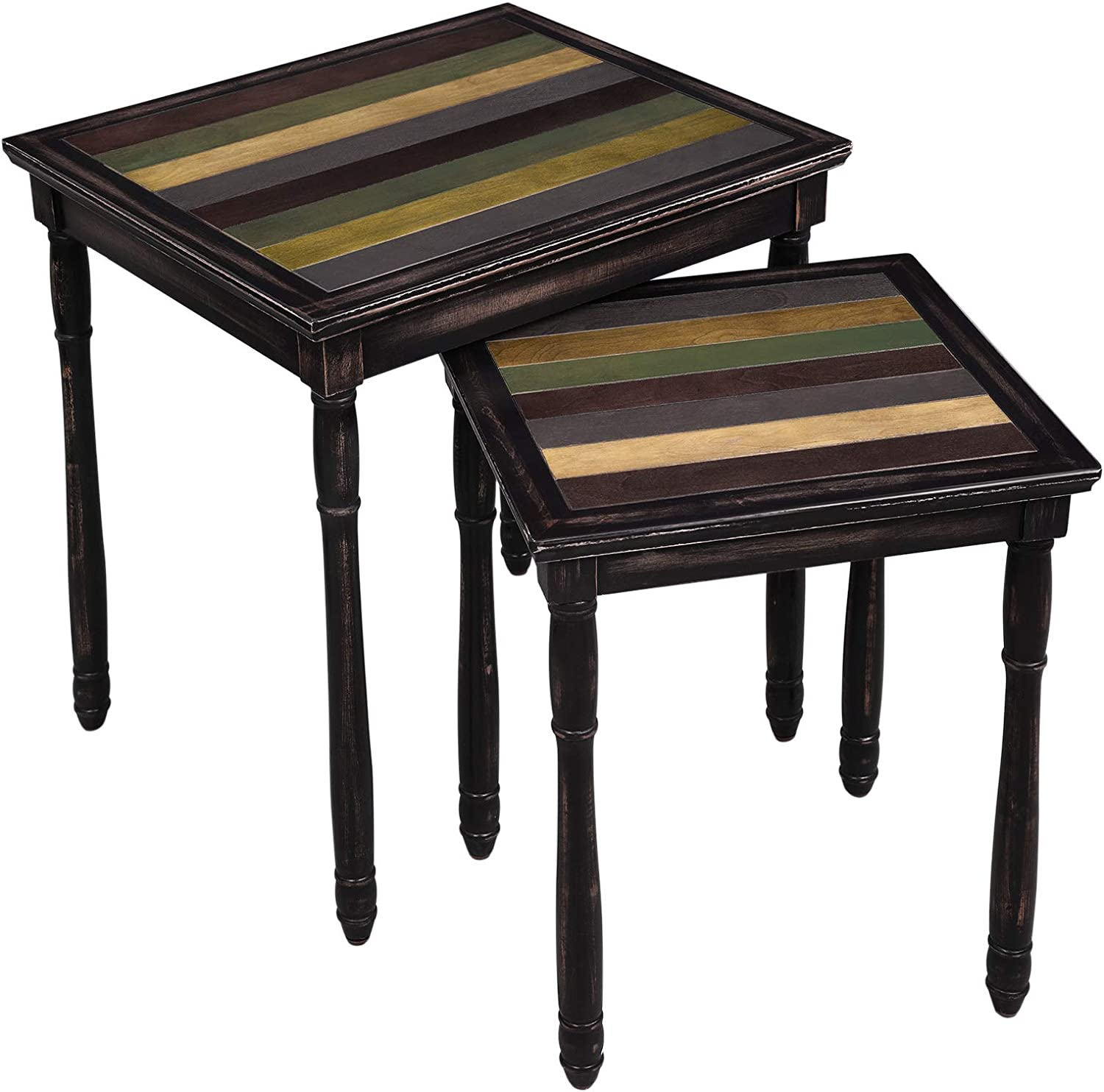VASAGLE Nesting End Tables with colorful Storage Shelf, Pair of 2 Coffee Tables with Solid Wood Legs, Easy to Assemble, Side Table for Living Room, Country Brown ULNT01GL