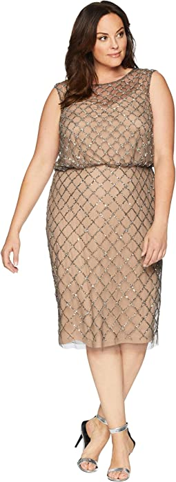 Plus Size Fully Beaded Cap Sleeve Cocktail Dress