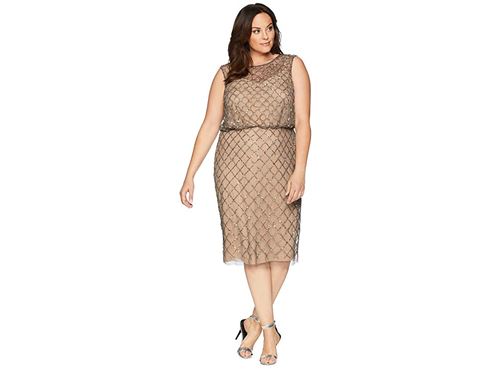 Adrianna Papell Plus Size Fully Beaded Cap Sleeve Cocktail Dress (Lead Nude) Women