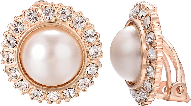 VOGEM Sunflower Jewelry Pearl Earrings For Women Wedding 18K Rose Gold Plated CZ Rhinestone Clip On Earrings