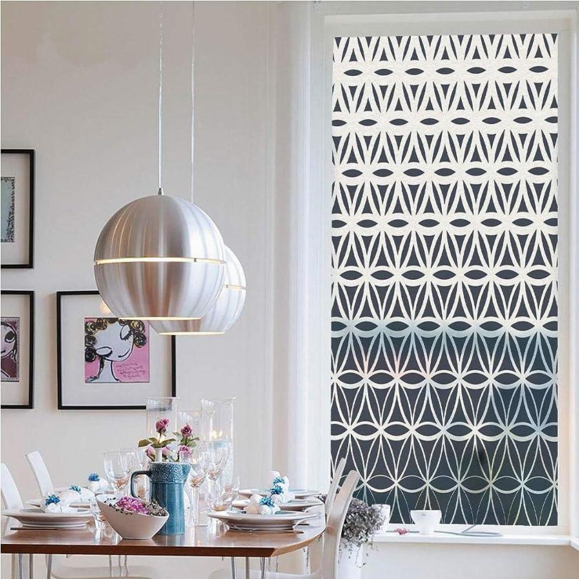 3D Window Films Privacy Film Static Decorative Film,Retro Geometric Ombre Inspired Pattern Classic Halftoned Monochrome Curves Decorative(23