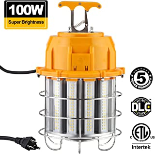 Freelicht Portable LED Temporary Work Light Fixture, 12,000 Lumens Outdoor Construction Light, 100W (800W Equiv.) Connectable Ultra Bright High Bay Light, UL Listed, IP65, 5000K Daylight