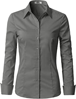 Doublju Womens Basic Slim Fit Stretchy Cotton Button Down Shirts with Plus Size
