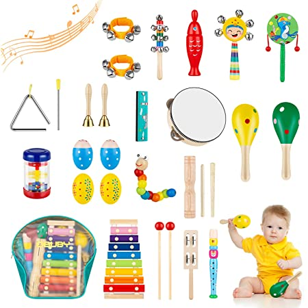 Obuby Toddler Musical Instruments Sets Wooden Percussion Instruments Toy for Kids Preschool Educational Wood Toys with Storage Bag for Kid Baby Babies Children Boys and Girls