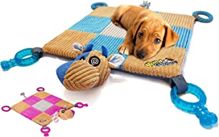 """HOUNDGAMES Puppy Toy Mat with Teething Chew Toys (20"""" x 20"""") - Ropes, Squeaker Nose, Plush Padded Sleeping Mat – Durable a..."""