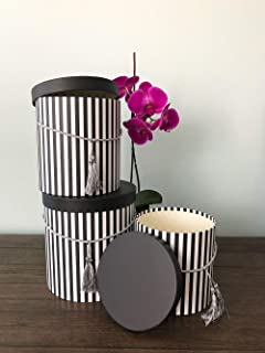 [USA-SALES] Premium Quality Round Flower Box, Gift Boxes for Luxury Flower and Gift Arrangements, Set of 3 pcs, with Lids, Size (S/M/L) (Black Stripes)