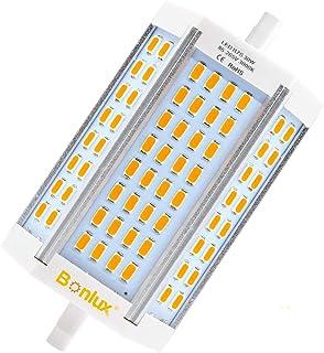 Bonlux 30W Bombilla LED R7S Regulable 118MM con 3000 Lumenes, Blanco Cálido 3000K, Reemplazo de 200-300W Hálogena Bombilla