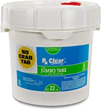 Rx Clear 3-Inch Water Soluble Chlorine Tabs | 22 Pound Bucket | Use As Bactericide, Algaecide Disinfectant in Swimming Pools Spas | No Need to Take Out of Wrapper