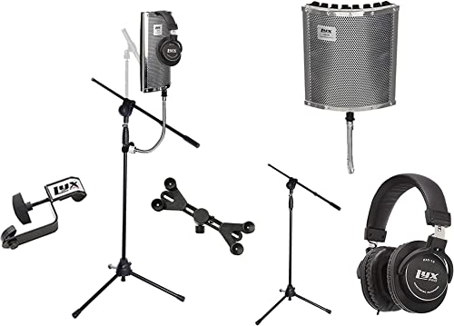 lowest LyxPro VRI wholesale 40 Portable Acoustic Isolation Instrument Shield, Sound Absorbing, Heavy Duty Gooseneck Panel with Tripod Microphone lowest Stand, Universal Smartphone Tablet Holder & Professional Headphones outlet sale