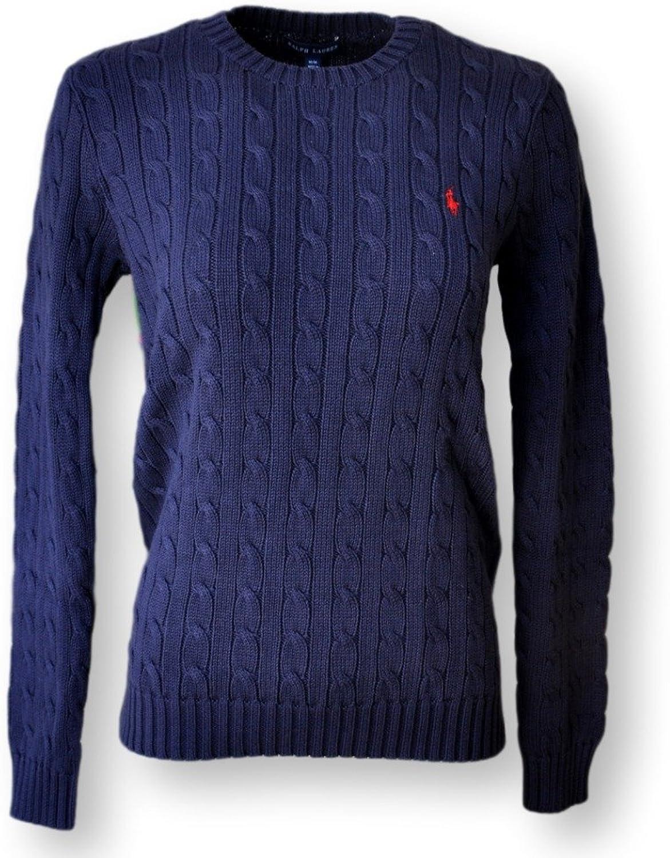 Ralph Lauren Women's Cable Knit Crew Neck Sweater (Hunter Navy, Medium)