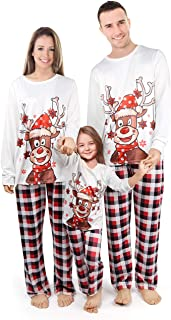 Pijamas de Navidad Familiar Graciosos Conjunto Mujer Hombre Niños Bebé Camisetas de Manga Larga Reno + Pantalones Largos a Cuadros Pijamas para Toda la Familia (Blanco,Papá/XL)