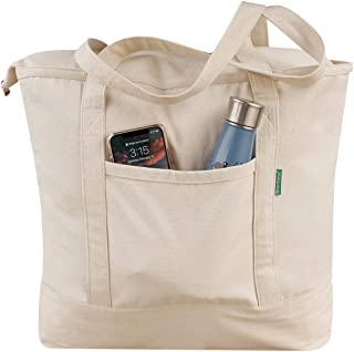 Earthwise Reusabel Grocery Bag 100% Cotton Heavy Duty Tote in Natural Large 22 W x 16.5 H x 5.5 G