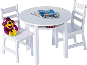 Lipper International Child's Round Table with Shelf and 2 Chairs, White