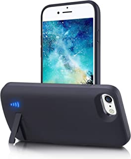 Battery Case for iPhone SE 2020/7/8/6s/6, 6000mAh Portable Charging Case with Kickstand Rechargable Backup Charger Cover for Apple iPhone 8 Lightning Headphone Supported(4.7 inch)-Black