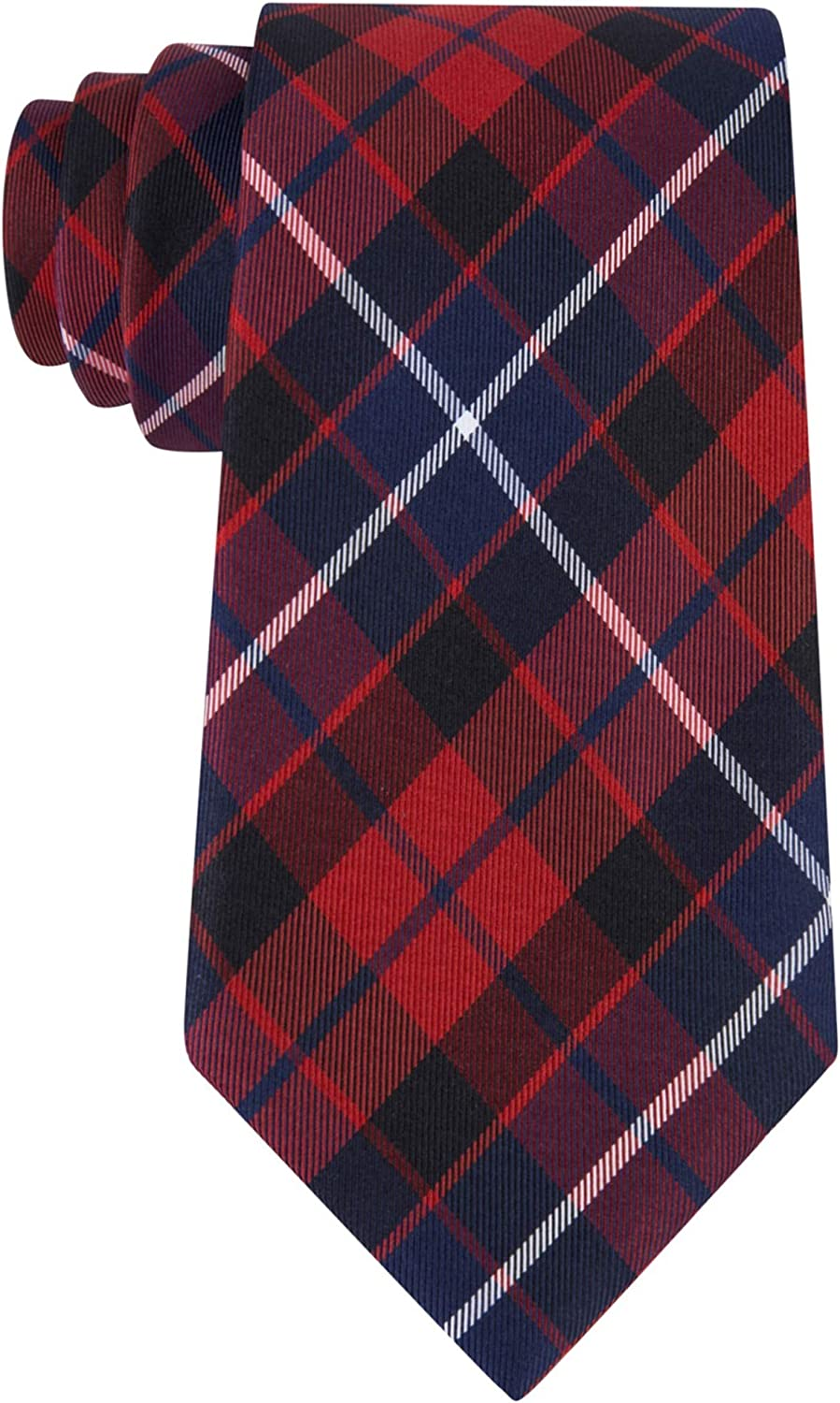 Tommy Hilfiger Mens Large New York Mall Necktie Plaid Self-Tied Import