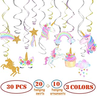 30 Ct Party Decorations For Unicorn Party, Unicorn Hanging Swirl Decorations, Unicorn Party Supplies, Unicorn Birthday Party Decorations