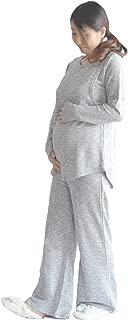 greenleafbaby(グリーンリーフベイビー)マタニティ パジャマ スウェットセットアップ 妊婦服 授乳口付き ルームウェア(M)