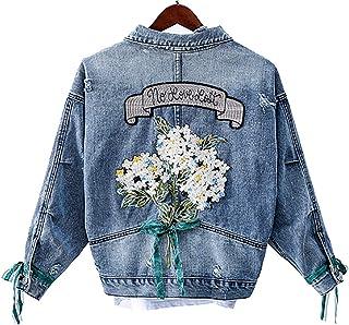 QZUnique Womens Winter Warm Denim Cotton-Padded Jacket Long Sleeve Short Lapel Thick Batwing Jean Jacket