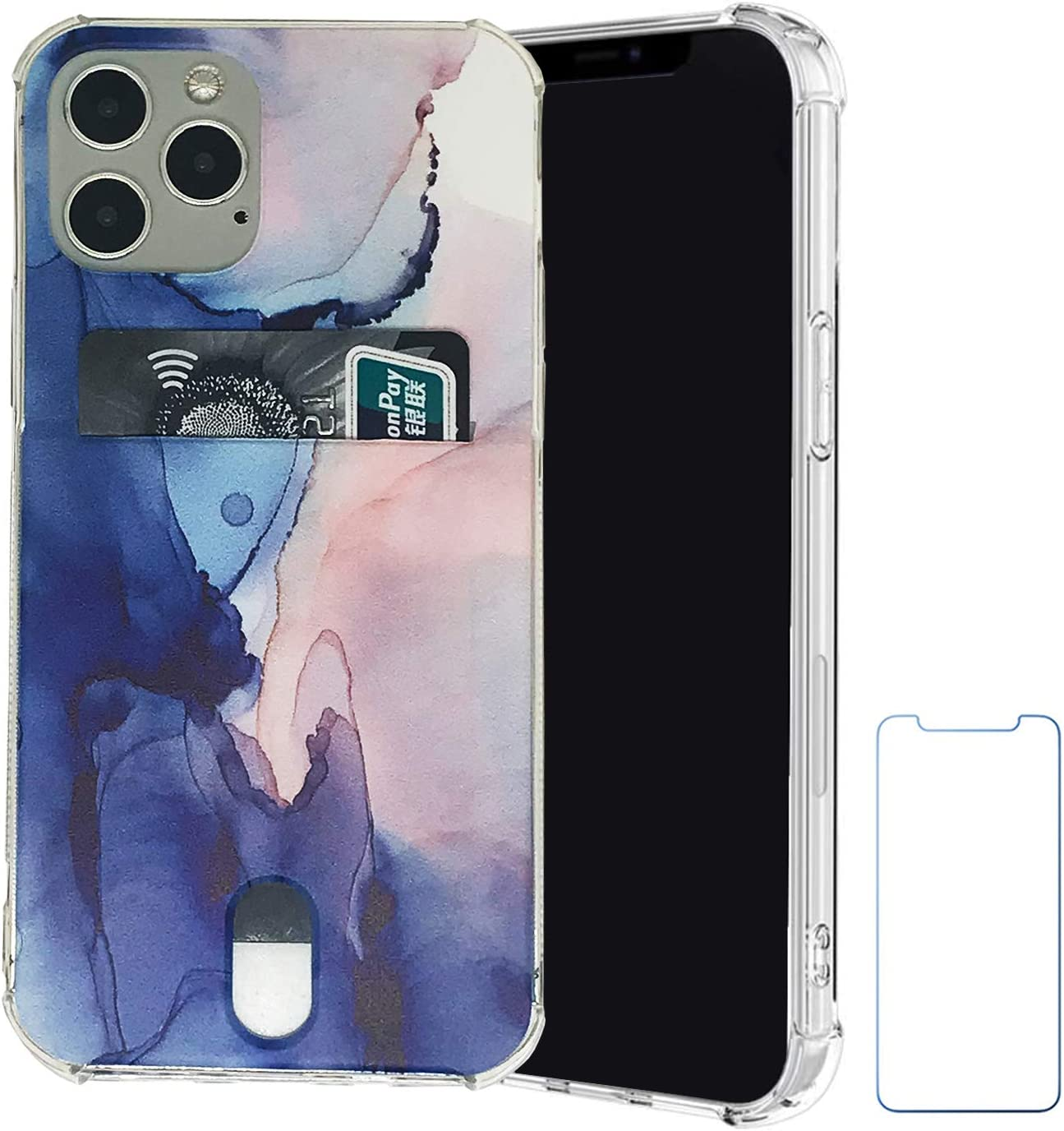 Wallet Case Compatible with iPhone 12 Pro Case for iPhone 12 6.1 inch (2020) with Card Holder Slot Ultra-Slim Soft TPU Clear Cover with Screen Protector (Blue Pink Marble)