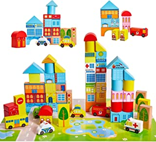 Mumoo Bear Wooden Building Blocks City Blocks Wood Set Educational Stacking Toy for Kids Toddlers Preschool,62 Pieces