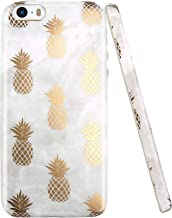 JAHOLAN iPhone 5 Case, iPhone 5S case, Shiny Gold Pineapple Gray Marble Design Clear Bumper TPU Soft Rubber Silicone Cover Phone Case Compatible with iPhone 5 5S SE