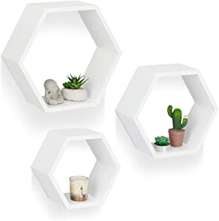 Relaxdays Juego de Baldas Pared Grandes Hexagonales Madera MDF Blanco 3 Unidades