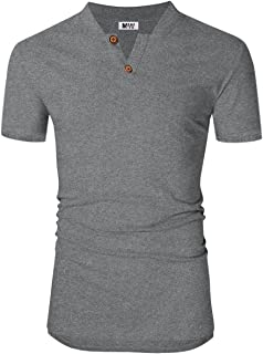 Kuulee Men's Workwear Henley Shirt Casual V Neck Long Sleeve Henley T-Shirts