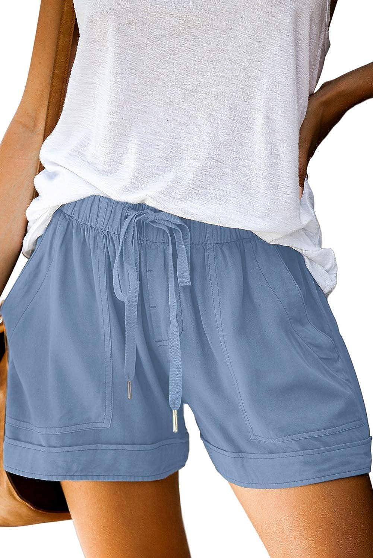 Romanstii Comfy Summer Shorts for Women Drawstring Elastic Waist Beach Shorts with Pockets