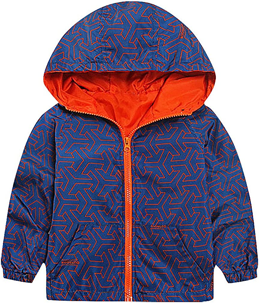Sweety Kids' Geo Or Camo Print Contrast Piping Zipped Hooded Windbreaker Jacket