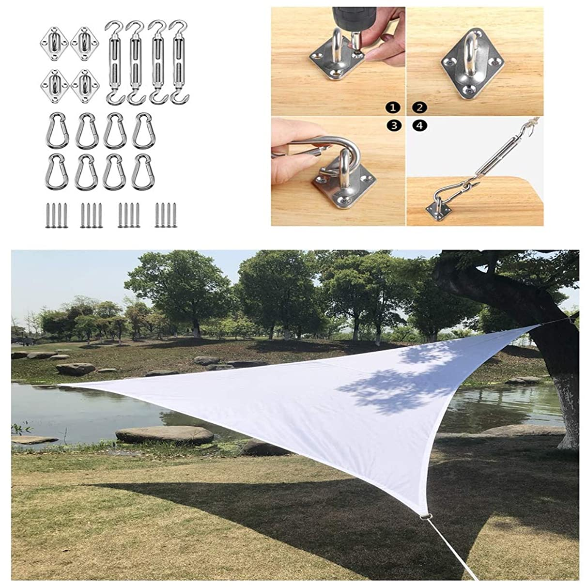 Awnings Outdoor Shade Sail Garden 95% Anti-uv Waterproof Mildew-Proof Triangular Shade Sail for Garden Pool Terrace Custom Size (with Accessories)