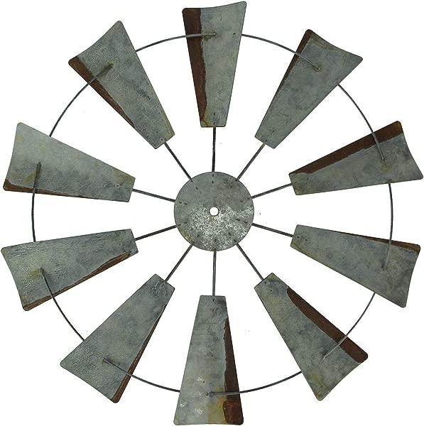Vintage Finish Rustic Metal Farmhouse Windmill Wall Sculpture 19 75 Inch Diam