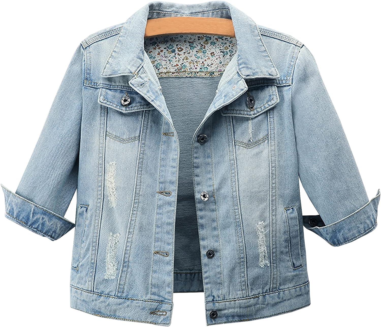 Ainangua Women's 3/4 Sleeve Cropped Distressed Denim Jacket Basic Button Down Jean Coats