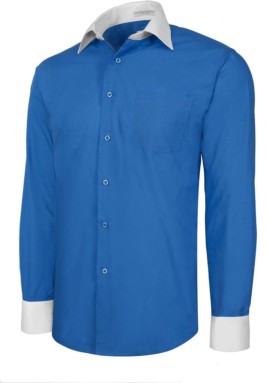 Men's Royal Blue Two Tone Dress Shirt w/ Convertible Cuffs - XLarge 34 /35