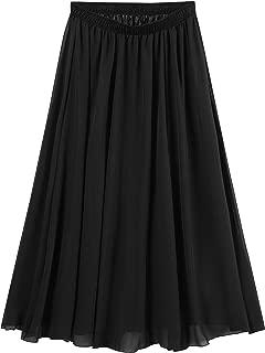 Women's Bohemian Elastic Waist Band Pleated Retro Maxi Long Skirt Dress