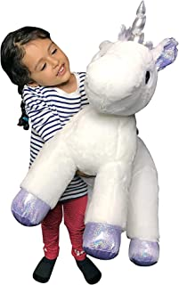 Grifil Zero XXL Size Unicorn Stuffed Animal Pillow Plush Toy Kid Babies Nursery Room Decoration Huge Big Large Doll (Silver)
