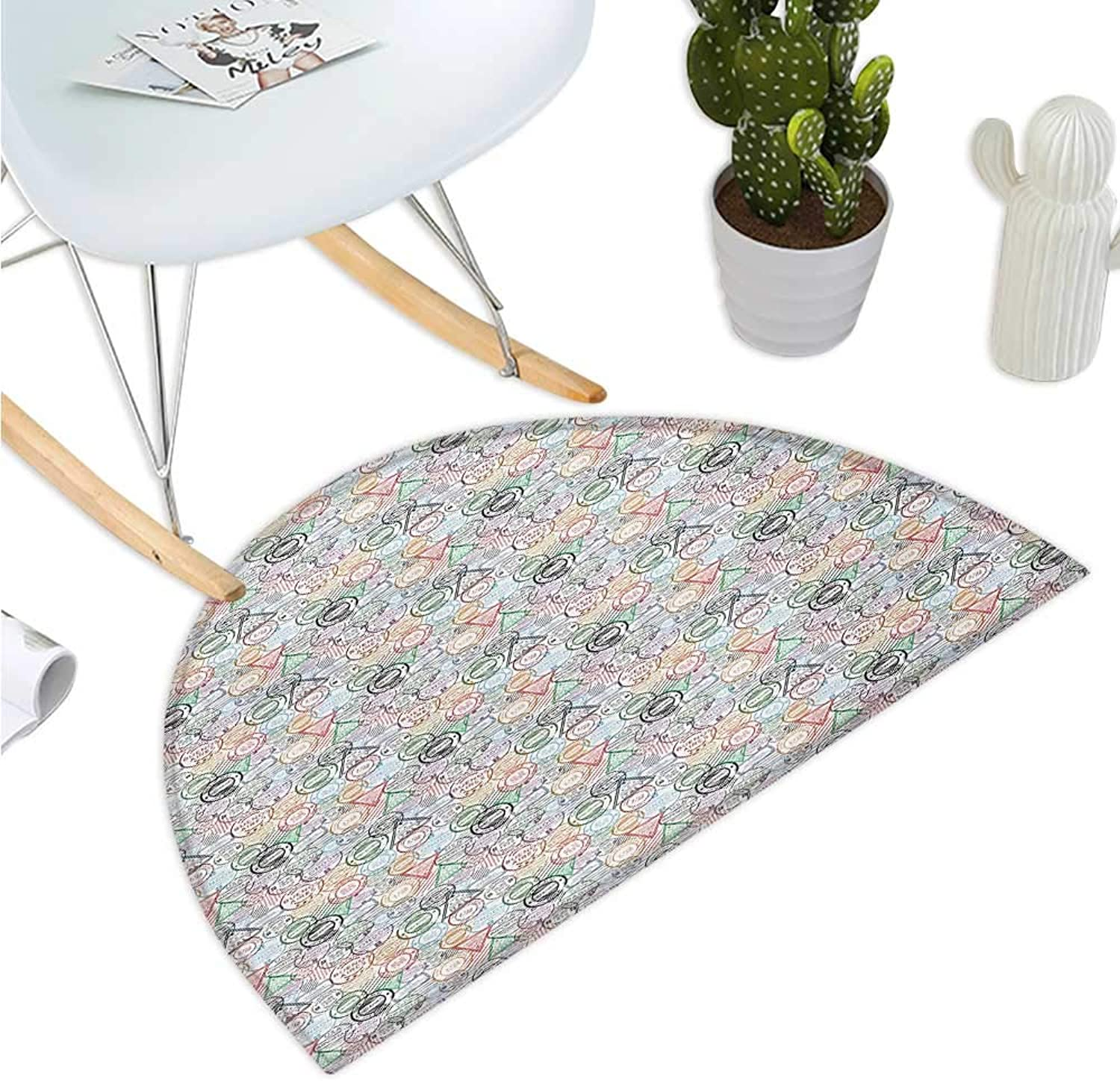 colorful Half Round Door mats Retro Postal Pattern Different Countries Traveling Tourism Elements Collection Entry Door Mat H 47.2  xD 70.8  Multicolor