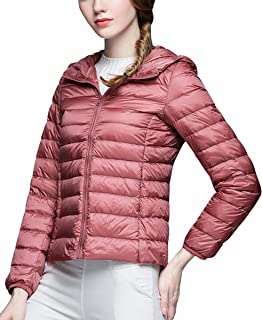 Ultralight Down Jacket Women Hooded Packable Short Down Jackets with Travel Bag