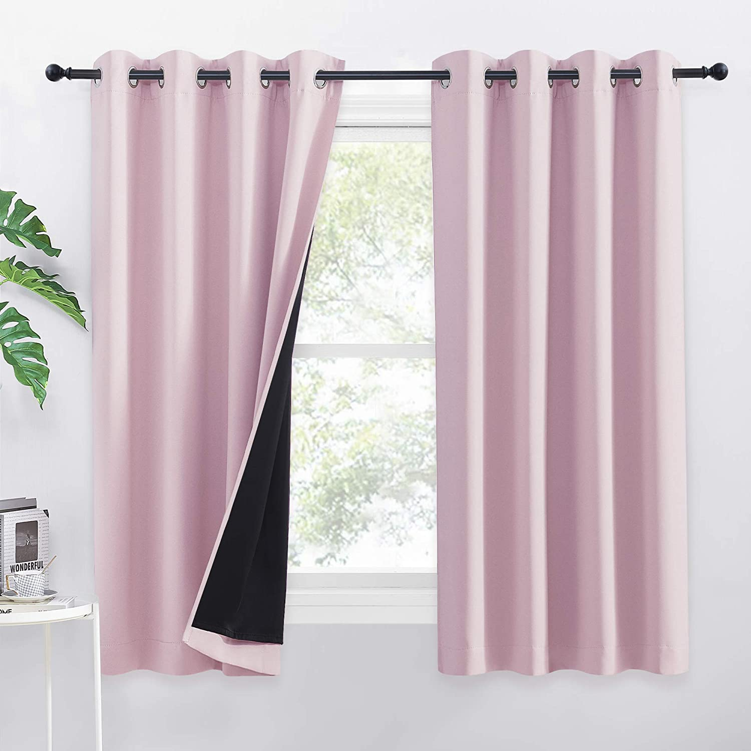"""PONY DANCE Kids Bedroom Curtains - Full 100% Blackout Curtains with Black Liner for Girls Thermal Sound Proof Blackout Panels for Nursery, 1 Pair, W 52"""" x D 63"""", Light Pink 2x W52"""" X L63"""" Light Pink"""