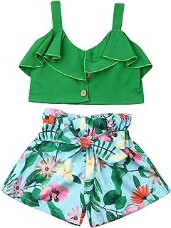 كشكش طوق بلا أكمام الأشرطة القمم المحاصيل الزهور واسعة الساق السراويل القوس حزام أزياء الصيف للأطفال البنات