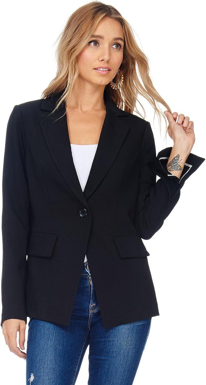 Alexander + David Womens Casual Fit Lapel Office Blazer Jacket w Slit Sleeves